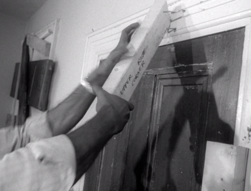 "Night of the Living Dead | 1968 In the film, Ben pulls a board off the door and we can see the words ""Upper Right Corner"" written on the underside… I guess whoever was in charge of props didn't know where the cameras were going to be located."