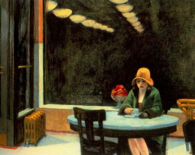 "Of philias and manias ""The Automat"", by Edward Hopper.The Thyssen-Bornemisza Museum in Madrid is holding an exhibition of one of my favourite painters, Edward Hopper, next year. Since I missed the ""Made in USA"" exhibition, where some of his paintings were exposed, I'm really looking forward to it.   (via Capnomancia frenopática: Edward Hopper)"