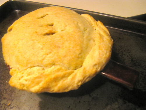 Curried tempeh pot pie. Sounds like a lot of work, but it's just messy, and totally worth it.
