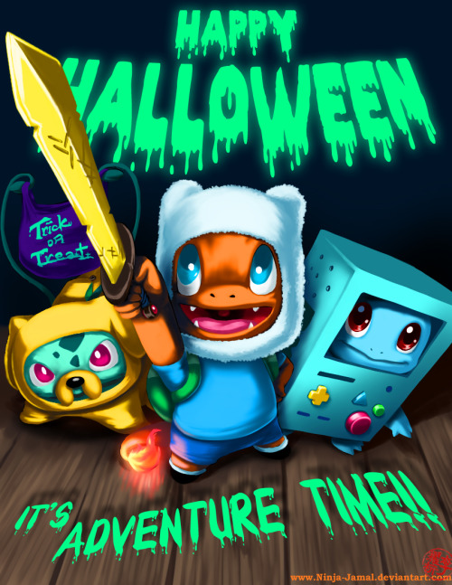 distrito-rock:  Happy Halloween 2011 by *Ninja-Jamal Adventure time pokemon crossover *-*