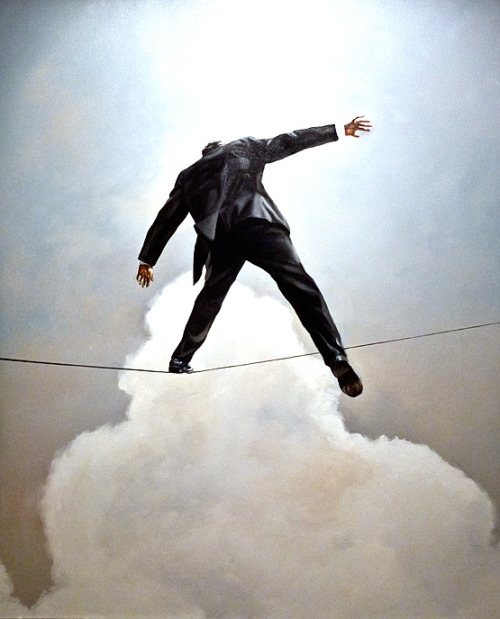 "black-tangled-heart:  Eric Zener Stepping Off  oil on canvas  60"" x 48"""