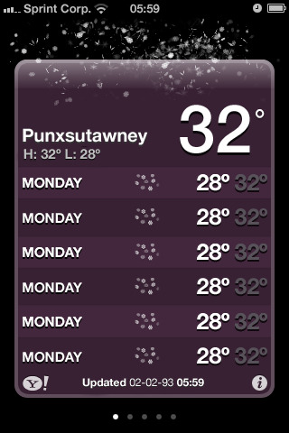 "Punxsutawney Weather Report (by Erik van Blokland)  A perfect 21st century tribute to ""Groundhog Day""."