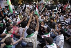 Syrians and Kurdish Syrians living in Egypt demonstrate against al-Assad and his government, in front of the Syrian embassy in Cairo October 30, 2011. REUTERS