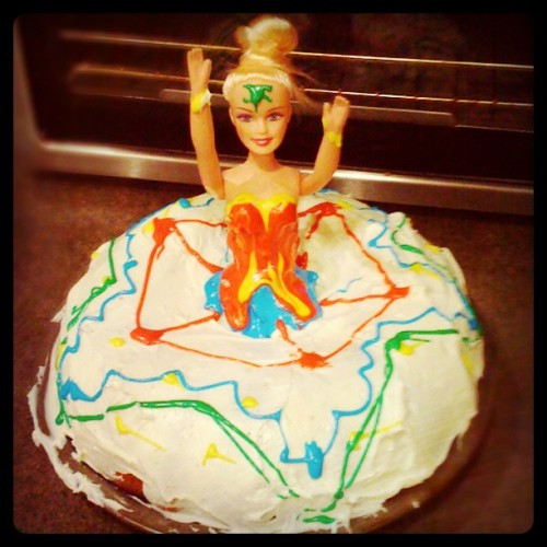 "It's my birthday today & this was make cake last night. Barbie birthday cakes were what I grew up with & was craving the design & nostalgia this year. Making a bundt cake the barbie goes in the middle & the cake becomes the dress. Pretty simple & very fun.   I'm not sure how she ended up at Wonder Women (with a Green Lantern marking) but I guess she's just dressed up for Halloween too. Unfortunately the ""W"" melted very badly. -Cory U"
