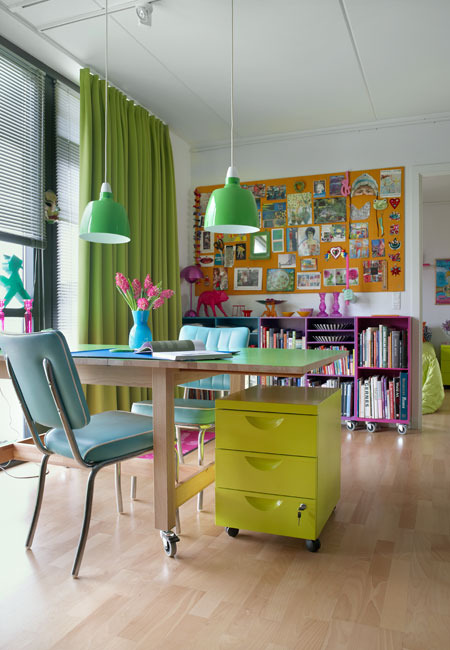 Colorful office using IKEA