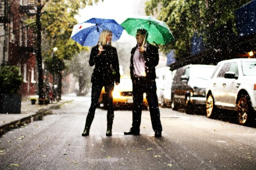 Friends' engagement photos - Preview - West Village, snowstorm, Manhattan, October 2011