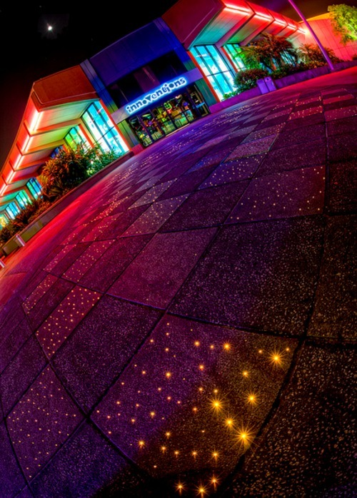 Did you know? On your way out, the walkway at Epcot lights up with hundreds  of fiber optic lights that twinkle as you walk over them and also  illuminate in dozens of different shapes.
