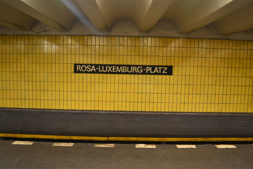 Rosa Luxemburg Platz is a tube station in Berlin, named after a Marxist theorist, philosopher, economist and activist woman, Rosa Luxemburg. When I saw the name of the tube station, it reminded me of the speech of an activist woman at the 3rd International Women's Conference: Toward Cities for Women held in Diyarbakir, March 2011. She mentioned that most open spaces in Turkey such as streets, squares, avenues, parks are named after men. Men who ruled the nation, fought for their country or invented something.. Since heroism evokes masculinity in most cultures, under the patriarchal rule, a public location should be named after such man. Names of those men to create heroic and masculine public spaces..   On top of that, some of those places are named after flowers rather than an actual women character to evoke 'femininity', and balance the masculinity and femininity of a neighborhood.   Rosa Luxemburg Platz gave me a series of contemplations as a public space because it was named after a revolutionist woman, who had strong arguments against the existing order of this world. At first it seemed unusual but clearly promising to me because I believe, such 'small details' can help women raise confidence while experiencing such public spaces. photo: Zerrin Kabaoglu - CSA Berlin trip Oct 2011