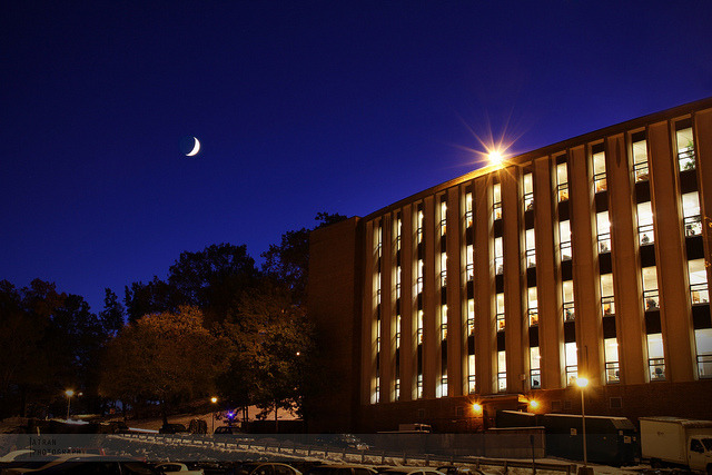 Gordon Library After Sunset on Flickr.Via Flickr: Sunday night means studying time at our school's library.