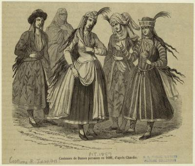 Costumes of Persian Women in 1666 (drawn in 1857)