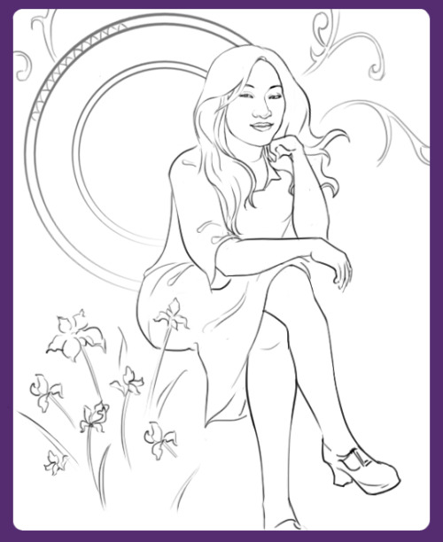 Tina, Mucha-style WIP! Posting so I can finish faster instead of procrastinating and dragging it out for ages…