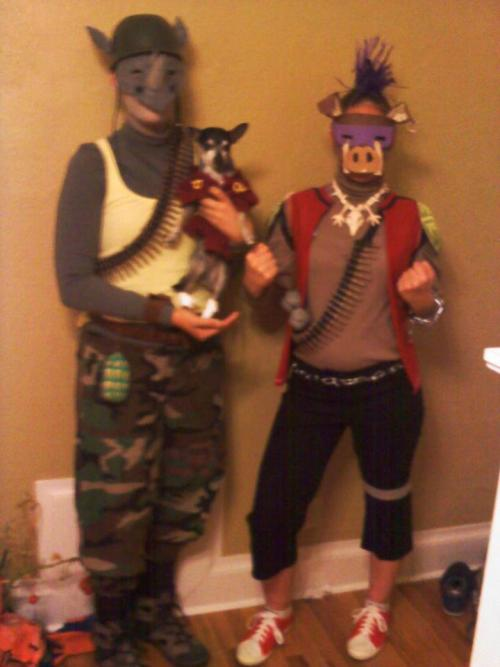 Sarah J. with sister and dog as Bebop, Rocksteady, and Splinter. Submit your TMNT Halloween picture to me via e-mail, Facebook, or Twitter for a chance to be featured! Deadline is November 1st!