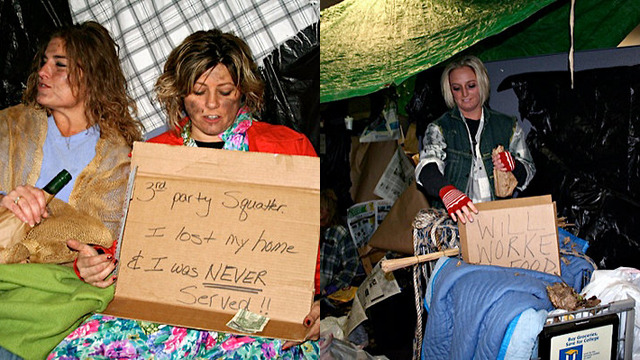 "Top Foreclosure Firm Threw Homeless-Themed Halloween Bash  If you're one of the nation's top ""foreclosure mill"" law  firms—representing Citigroup, JPMorgan Chase, Bank of America and Wells  Fargo in their attempts to foreclose on homes and evict homeowners—what  better way to celebrate Halloween than by throwing a party where  everyone comes as a dirty, homeless victim of your practice? The New York Times' Joe Nocera was sent a series of photos from a Halloween party thrown last year by the firm  of Steven J. Baum—the ""merciless"" foreclosure mill, subject of a Justice  Department investigation, and defendant in at least two class-action  lawsuits over its shady foreclosure practices. In one photo, two women  with fake dirt on their faces hold a sign that says ""3rd party squatter.  I lost my home and was never served!!""; in another, a woman holding a  beer bottle in a paper bag pushes a shopping cart with a sign saying  ""will work for food."" They're pretty horrible! Like, ""would offend the  richest, whitest frat at the most conservative university in the south""  horrible. You can see the rest of the photographs here. But, oh, it's just Halloween, right? Usually Baum employees are kind  and empathetic to the people whose lives they're ruining, aren't they?  Well… no. The anonymous woman who sent the photos to Nocera says that they're emblematic of the culture at Baum: In an e-mail, she said that she wanted me to see them because they  showed an appalling lack of compassion toward the homeowners -  invariably poor and down on their luck - that the Baum firm had brought  foreclosure proceedings against. When we spoke later, she added that the snapshots are an accurate  representation of the firm's mind-set. ""There is this really cavalier  attitude,"" she said. ""It doesn't matter that people are going to lose  their homes."" Nor does the firm try to help people get mortgage  modifications; the pressure, always, is to foreclose. The firm, when contacted by Nocera, called the photos ""another attempt by The New York Times to attack our firm and our work."" Well… yeah. Because your firm is horrible and your work sucks. [NYT]"