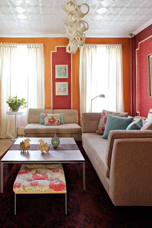 rooms with orange accents
