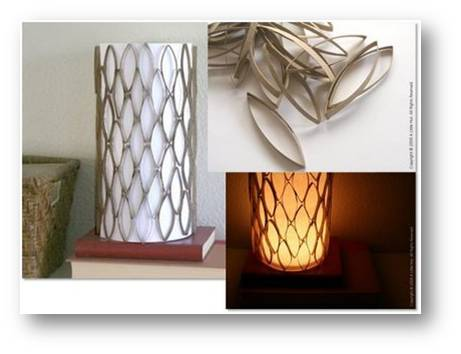 RECYCLED CARDBOARD TUBE LAMPSHADE A unique lamp with an accent created from cardboard tube.