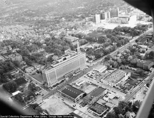 themidtownarchive:  1946 aerial of Midtown Atlanta, with the Biltmore Hotel in the foreground.    baby Tech Square