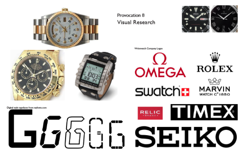 Provocation 8Visual Research Investigation on:  Wrist watch company logos. Symbols and makings on watches Digital style typefaces
