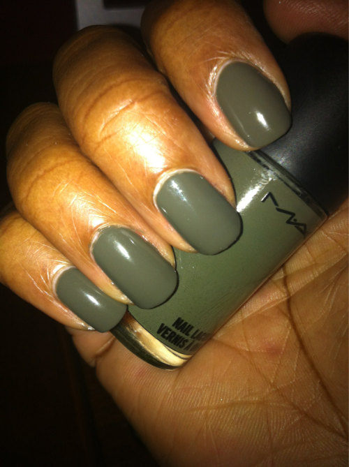 MAC Fatigue. Season: Fall 2011 Shade: Army Green Formula: Creme Top Coat: Seche