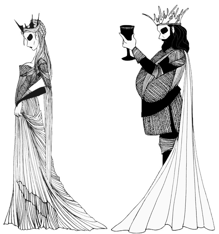 "Queen Cersei Lannister and King Robert Baratheon from the ""A Song of Ice and Fire"" series."