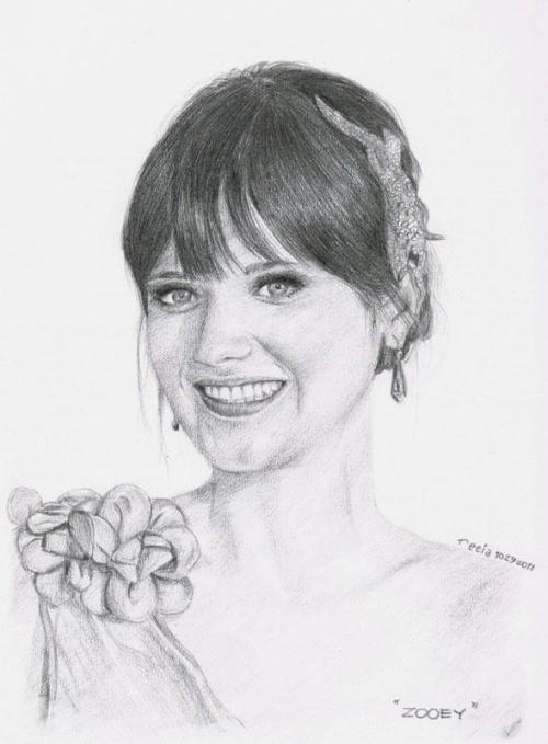 @ZooeyDeschanel ♥(7B pencil on oslo paper)reference photo