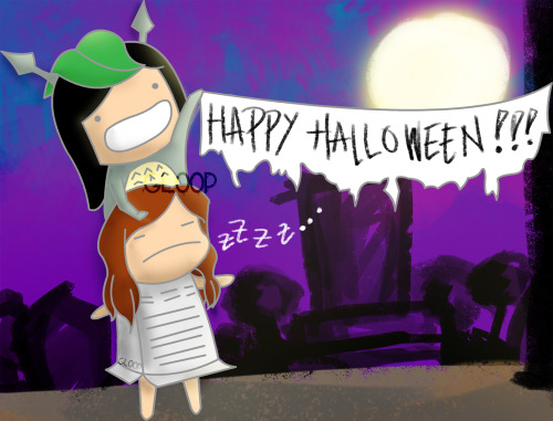 gloopip:  happy JeTi halloween!!!! :D oh and please please please please if you'll repost this kindly credit me. thanks!  so cute. fany as totoro and sica as an a/c hahaha
