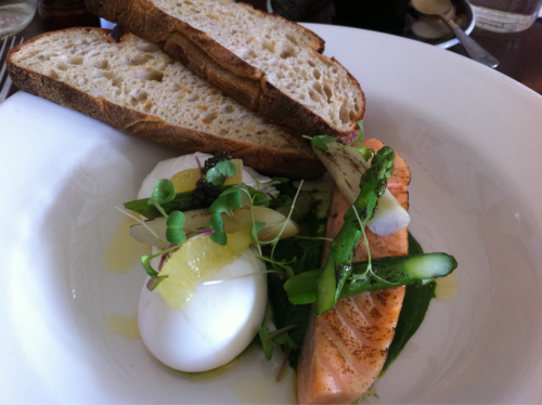 Cured Salmon served warm with watercress and spinach puree, poached eggs and sourdough. So good from The Duchess of Spotswood.
