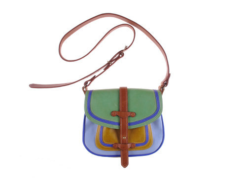 (via Bold Buckaroo bag in blue and green leather by missibaba on Etsy)