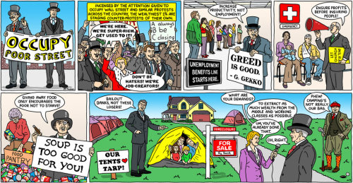 Spin on Occupy Wall Street- The 1% speaks out!  This cartoon strip by the New York Times is saturated with verbal irony. (via Occupy Poor Street - Op-Art - NYTimes.com)