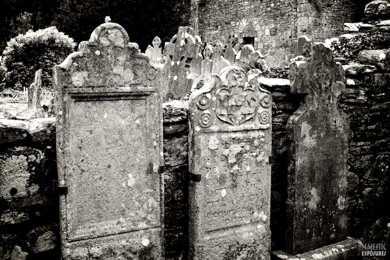 """St. Kevin's Graveyard"" by Benjamin Padgett  Centuries-old gravestones within the Priest's House and beyond at St. Kevin's Monastic City in Glendalough, Ireland. Click on the photo to see more spooky photos from Glendalough. Happy Halloween!"