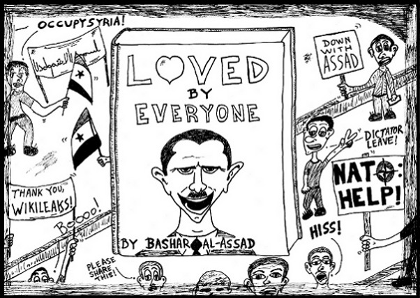 #OccupyLove #OccupySyria Book You Never Read > Loved By Everyone by Bashar al-Assad editorial cartoon and top 10 jokes by laughzilla for the daily dose.