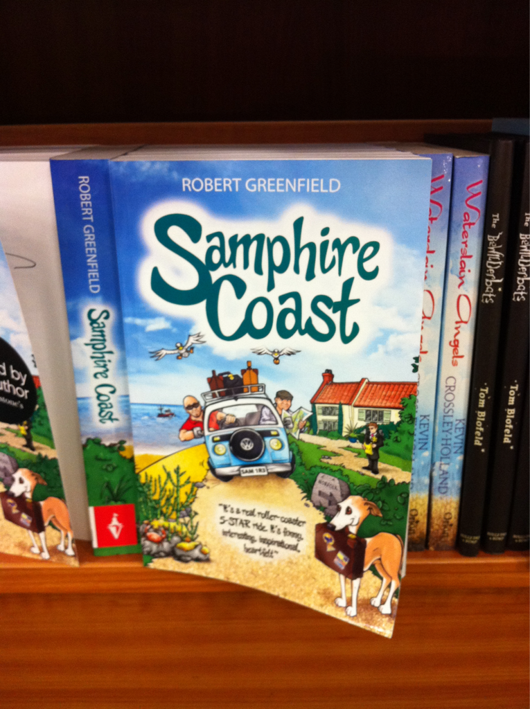 My book cover illustration for Samphire Coast by Robert Greenfield in Waterstone's bookshop, Norwich.