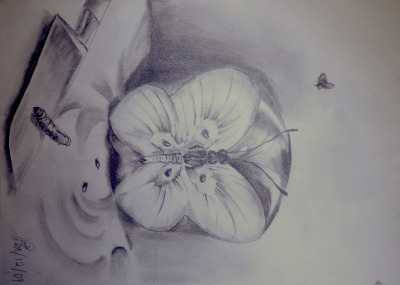 """Butterfly Apple""  originally by Vladimir Kush Sketch by Lordiclaire Lovie"