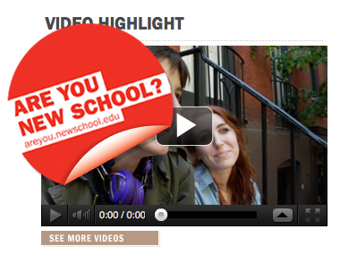 The New School - Uses a sticker to call a huge amount of attention to the video on their homepage. Not sure if it's the best way to get clicks but it definitely works.