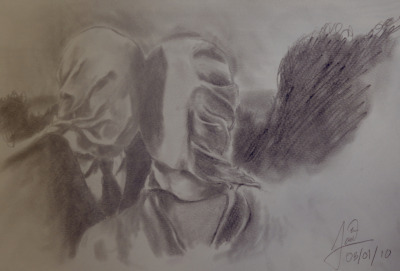 'Les Amants' originally by Rene Magritte 1928 Sketch by Lordiclaire Lovie