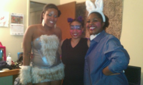 ladylala823:  the homies…jaleesia ( warewolf ) F ( butterfly ) and faith ( bunny )   fun fun fun!!!