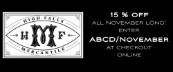 ABCD Design readers get 15% off at High Falls Mercantile for the entire month of November - just enter ABCD/November at online checkout!