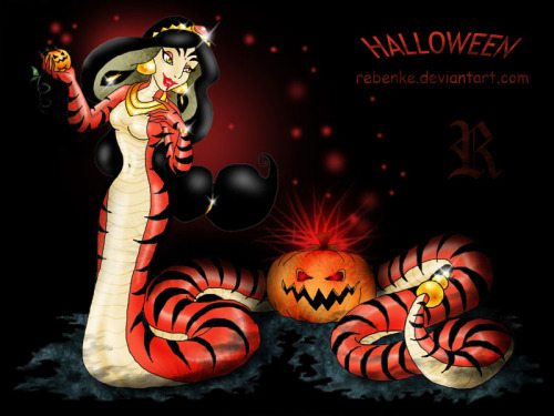 HAPPY HALLOWEEN TO ALL OUR FOLLOWERS!!! Snake by rebenke (PS - Have you seen this episode when Aladdin and Jasmine turn into snakes?)