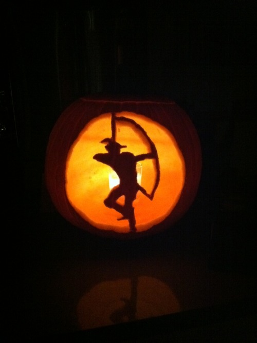 A Robin Hood jack-o'-lantern created by a member of our own staff, Molly!  Happy Halloween!