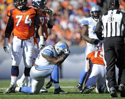 "A great moment in poor sportsmanship:  Detroit linebacker Stephen Tulloch mocks Broncos quarterback Tim Tebow with a ""Tebowing"" pose after he sacked Tebow during the first quarter. More photos from the Broncos vs. Lions game Sunday. (AAron Ontiveroz, The Denver Post) (via Image Viewer)  Seriously, I love this. I didn't watch the game, and haven't really followed the NFL's thinking on this sort of thing, so I don't know if Tulloch was penalized, or criticized. I'd understand if he were — he's being pretty obnoxious.  But at the same time: He's being obnoxious with great panache. And I think every real sports fan enjoys that. (Anybody else remember the Saints' Joe Horn, after scoring a touchdown, grab a cell phone he'd hidden in the goal-post padding and flamboyantly pretend to call his mom? He was fined, of course.) I know that in general we don't want to encourage the kids, or whatever, to engage in unsportsmanlike taunting and theatrics — thus the penalties and fines. But maybe while that's the only response to dull, run-of-the-mill taunting, there could also be some recognition for really outstanding taunting. Tulloch's action here qualifies; it's funny, it's effective, and it even plays off an Internet fad. (He gets bonus points for claiming afterward: ""It was no disrespect to Tebow."" Yeah, right!)  In other words, by officially recognizing Best Bad Sportsmanship from time to time, we could  give the kids an example of superlative unacceptable behavior."