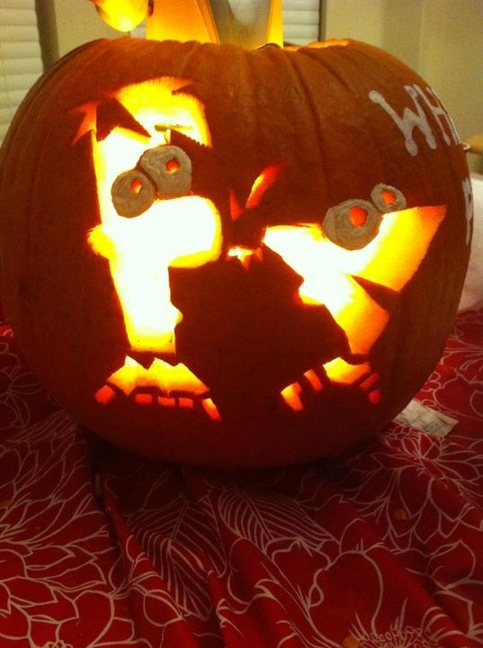 Cj and I carved this pumpkin last night :) its Phineas and Ferb!