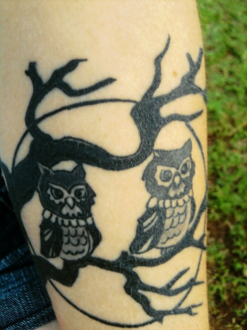 My owls in a tree in front of a full moon (: I love it!