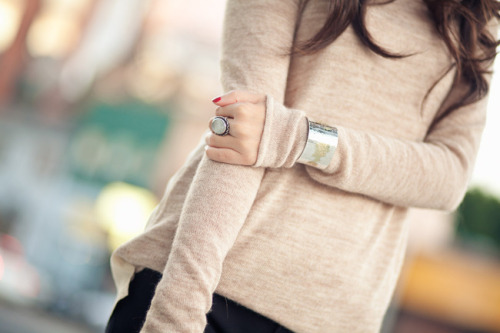 Love the cuff over the sweater.