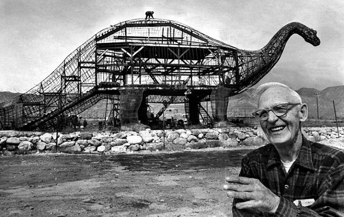 Photo of construction of Cabazon Dinosaurs by Claude K. Bell in the 1960s. The best form of architecture. Screw the duck.