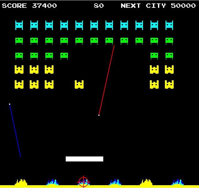 Missilebreak Outvaders Online Flash game mash-ups three classic retro arcade games into one - Space Invaders, Missile Command, and Breakout: Play it here