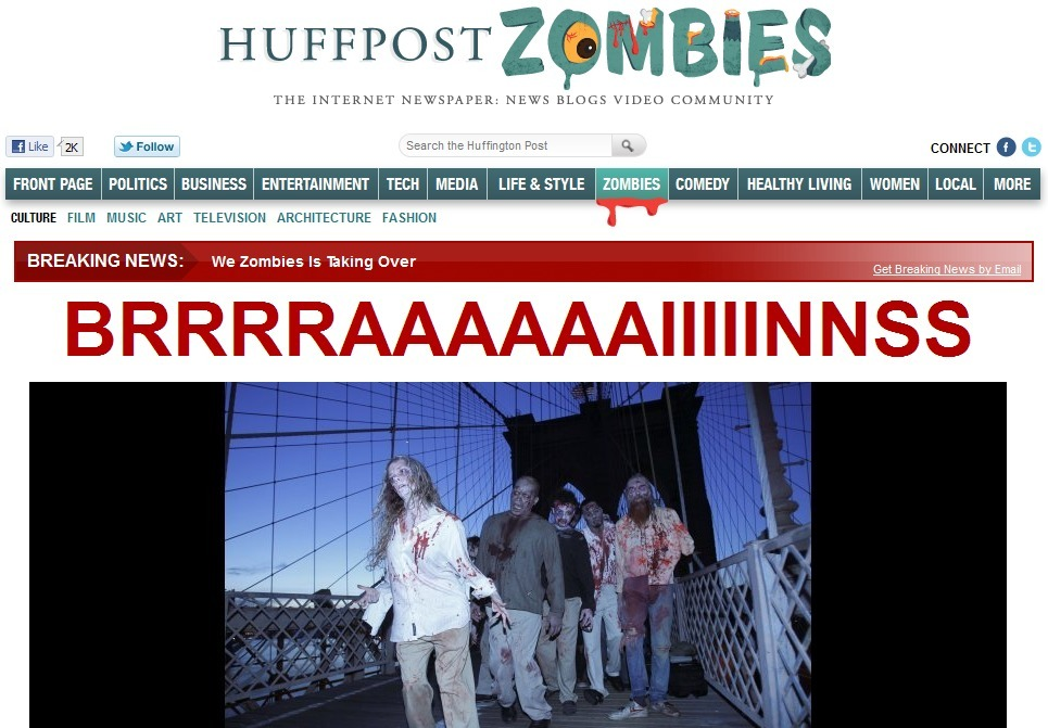 newsweek:  Hey, we did that once. Zombies take over HuffPost.