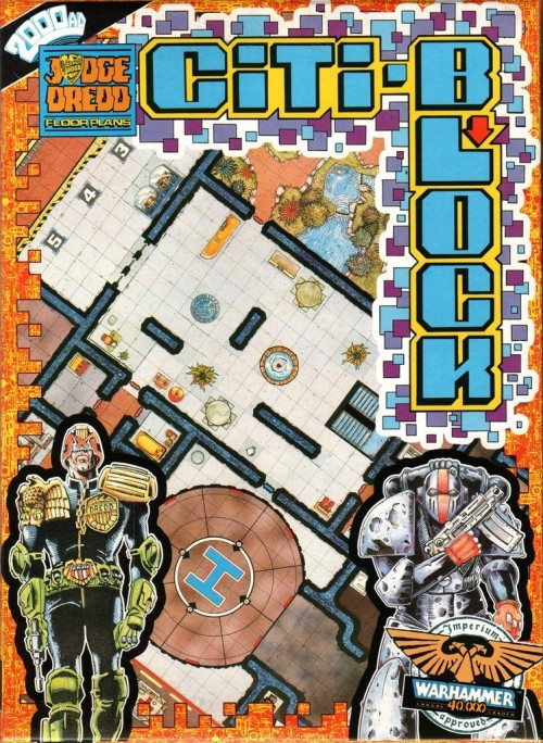 Citi-Block. Floorplans for the Judge Dredd RPG and Warhammer 40,000 - Rogue Trader. Pete Knifton and Brian Bolland(?), 1987.