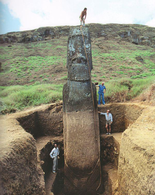 Unearthed Moai on Easter Island