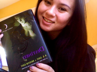 "Here is my photo with my copy of Destined! I've already finished reading it and I can say that you guys won't be disappointed! If you want to send in your photos with your book email: houseofnightseries55@yahoo.com OR  you can just upload it to your Tumblr and tag it as ""house of night"" and I'll reblog it."