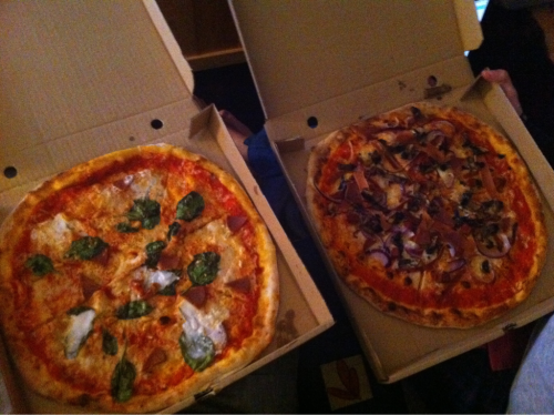 reblogged from lovewithjetpacks:  Vegan pizza o'clock, y'all! Left: Thom Yorke (cheezly, spinach, pepperoni , pine nuts, sour cream and chopped garlic) Right: Vegan Meathead (cheezly, chorizo, bacon, pepperoni, smoked sausage, mushrooms and red onions) From PizzaFace in Kemptown, Brighton. All made using their signature hand-stretched Sardinian 00 flour bases and fresh tomato sauce and stonebaked for a wonderfully authentic taste.