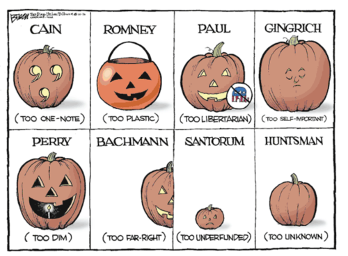 thenewrepublic:  This Halloween, everyone at the TNR offices is dressing up as one of Mitt Romney's opinions on collective bargaining. Photo courtesy of Steve Breen, San Diego Union Tribune.